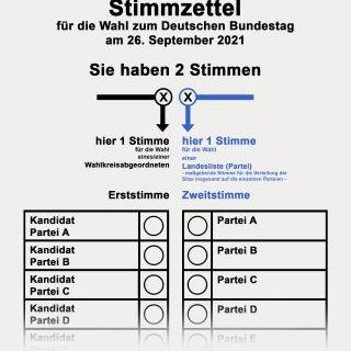 Stimmzettel Bundestagswahl 2021